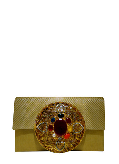 Indian Fashion Designers - Meera Mahadevia - Contemporary Indian Designer - Multi Color Stone Clutch - MM-SS16-MM-6914