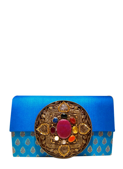 Indian Fashion Designers - Meera Mahadevia - Contemporary Indian Designer - Blue Brocade Clutch - MM-SS16-MM-6915
