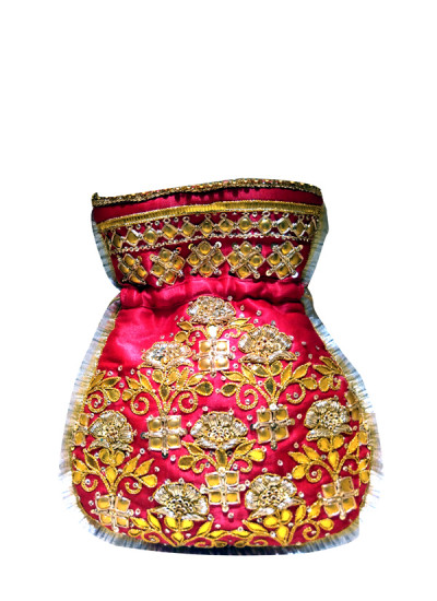 Indian Fashion Designers - Meera Mahadevia - Contemporary Indian Designer - Hot Pink Embroidered Potli Bag - MM-SS16-MM-6917