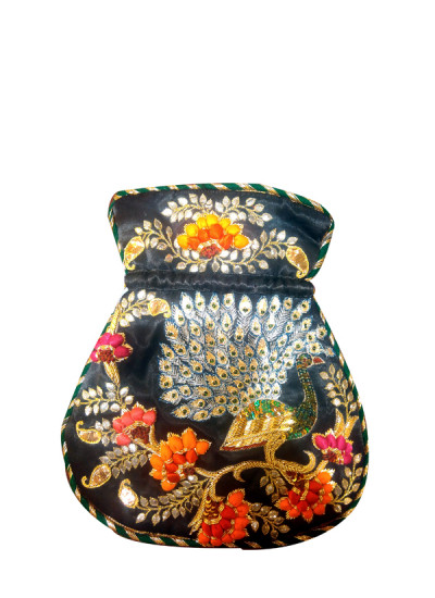 Indian Fashion Designers - Meera Mahadevia - Contemporary Indian Designer - Black Embroidered Potli Bag - MM-SS16-MM-6919