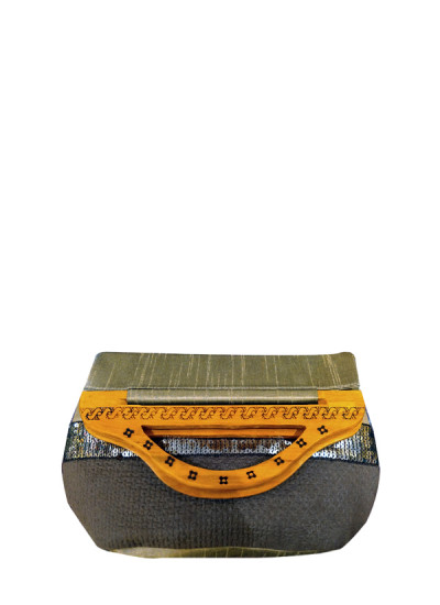 Indian Fashion Designers - Meera Mahadevia - Contemporary Indian Designer - Wooden Handle Handbag - MM-SS16-MM-6920