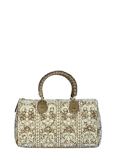 Indian Fashion Designers - Meera Mahadevia - Contemporary Indian Designer - Artistic White Handbag - MM-SS16-MM-BB-CL-027-GLD