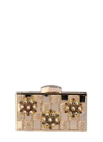 Indian Fashion Designers - Meera Mahadevia - Contemporary Indian Designer - Checkered Kundan Clutch - MM-SS16-MM-BB-CL-036
