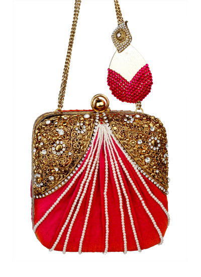Indian Fashion Designers - Meera Mahadevia - Contemporary Indian Designer - Red Beaded Clutch - MM-SS16-MM-BB-COU-030