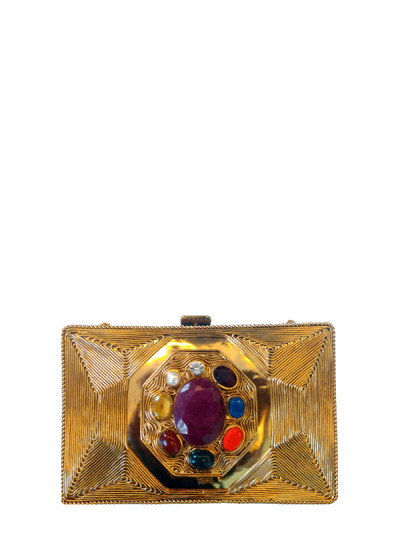Indian Fashion Designers - Meera Mahadevia - Contemporary Indian Designer - Navgraha Stone Gold Clutch - MM-SS16-MM-DM-COU-004-Gld