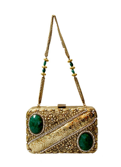 Indian Fashion Designers - Meera Mahadevia - Contemporary Indian Designer - Green Stone Studded Clutch - MM-SS16-MM-DM-COU-022