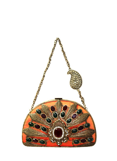 Indian Fashion Designers - Meera Mahadevia - Contemporary Indian Designer - Red And Green Stone Studded Clutch - MM-SS16-MM-DM-COU-025