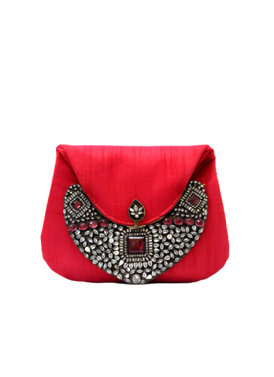 Indian Fashion Designers - Meera Mahadevia - Contemporary Indian Designer - Stylish Red Polki Work Clutch - MM-SS16-MM-DM-COU-028