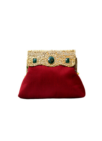 Indian Fashion Designers - Meera Mahadevia - Contemporary Indian Designer - Red Polki Work Clutch - MM-SS16-MM-DM-COU-030
