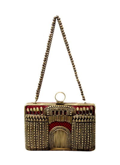 Indian Fashion Designers - Meera Mahadevia - Contemporary Indian Designer - Traditional Maroon Clutch - MM-SS16-MM-DM-COU-034