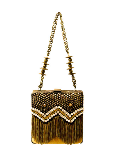 Indian Fashion Designers - Meera Mahadevia - Contemporary Indian Designer - Beaded Box Clutch - MM-SS16-MM-DM-COU-040