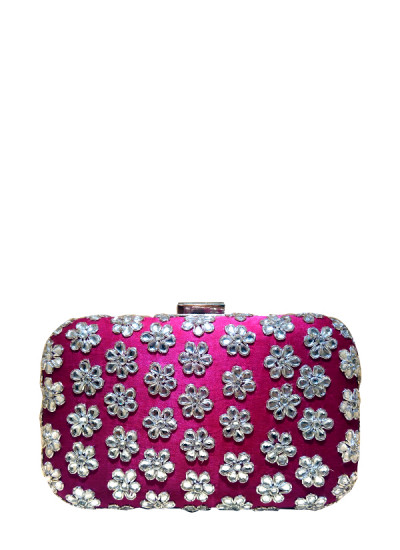 Indian Fashion Designers - Meera Mahadevia - Contemporary Indian Designer - Rani Pink Embroidered Clutch - MM-SS16-MM-LPI-CL-002-PNK
