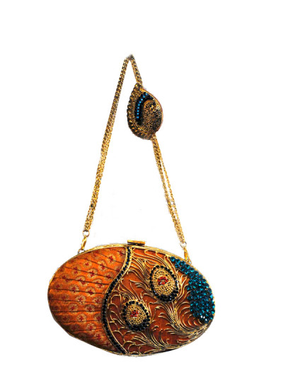 Indian Fashion Designers - Meera Mahadevia - Contemporary Indian Designer - Peacock Inspired Clutch - MM-SS16-MM-LPI-COU-005