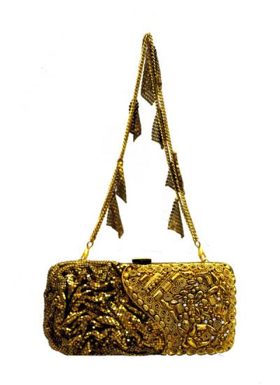 Indian Fashion Designers - Meera Mahadevia - Contemporary Indian Designer - Dual Toned Gold Clutch - MM-SS16-MM-LPI-COU-018