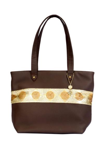 Indian Fashion Designers - Meera Mahadevia - Contemporary Indian Designer - Brown Handbag with Gold Stripe - MM-SS16-MM-MA-007