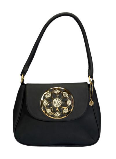 Indian Fashion Designers - Meera Mahadevia - Contemporary Indian Designer - Black Big Broach Handbag - MM-SS16-MM-MA-013