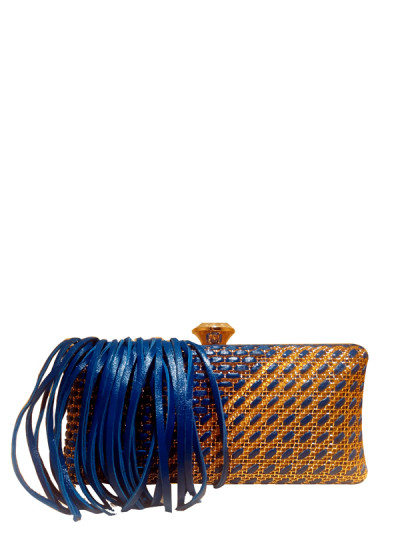Indian Fashion Designers - Meera Mahadevia - Contemporary Indian Designer - Gold And Blue Fringe Clutch - MM-SS16-MM-MM-CL-010