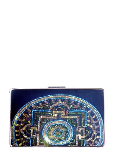 Indian Fashion Designers - Meera Mahadevia - Contemporary Indian Designer - Embellished Blue Rectangular Clutch - MM-SS16-MM-QE-CL-039