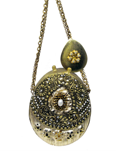 Indian Fashion Designers - Meera Mahadevia - Contemporary Indian Designer - Pearl Studded Metallic Clutch - MM-SS16-MM-QE-COU-011