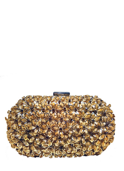 Indian Fashion Designers - Meera Mahadevia - Contemporary Indian Designer - Floral Carved Antique Gold Clutch - MM-SS16-MMBRD-006-GLD