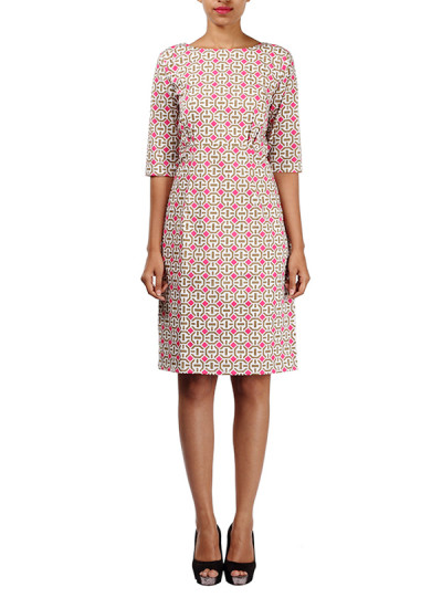Indian Fashion Designers - Michelle Salins - Contemporary Indian Designer - Geometrical Printed Shift Dress - MS-SS16-SHRW-1562-PRNT-DR