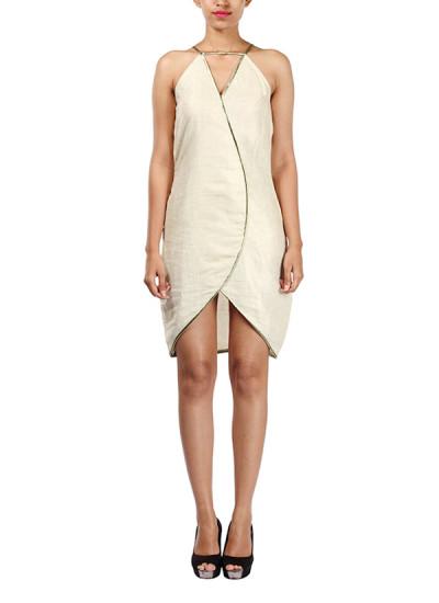Indian Fashion Designers - Michelle Salins - Contemporary Indian Designer - Beige Tulip Dress - MS-SS16-SHWR-1406-CRMBG-DR