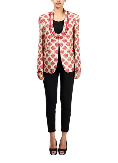 Indian Fashion Designers - Michelle Salins - Contemporary Indian Designer - Lotus Print Jacket - MS-SS16-SHWR-1558-PRNT-JCKT