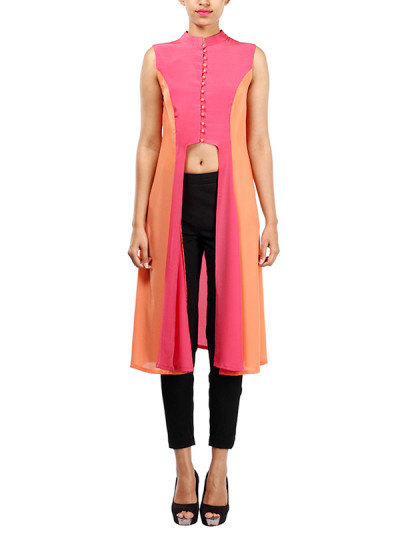 Indian Fashion Designers - Michelle Salins - Contemporary Indian Designer - Trendy Color Blocked Crepe Tunic - MS-SS16-SHWR-1653-PNKORG-KUR