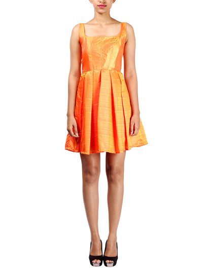 Indian Fashion Designers - Michelle Salins - Contemporary Indian Designer - Box Pleated Dress - MS-SS16-SHWR-1657-ORG-DR