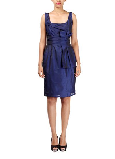 Indian Fashion Designers - Michelle Salins - Contemporary Indian Designer - Indigo Silk Dress - MS-SS16-SHWR-1658-INBLU-DR