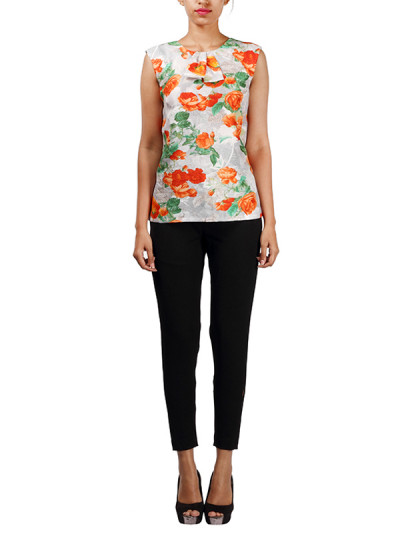 Indian Fashion Designers - Michelle Salins - Contemporary Indian Designer - Floral Printed Top - MS-SS16-SHWR-1660-PRNT-TP