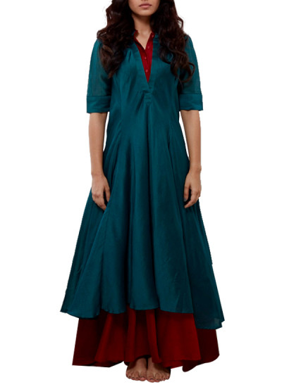 Indian Fashion Designers - Myoho - Contemporary Indian Designer - Teal Blue  and Red Double Collar Double Layer Bias Kurta - MYO-SS16-MYO-201A
