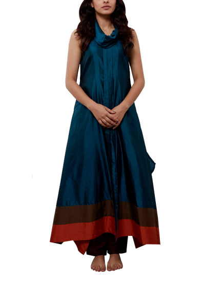 Indian Fashion Designers - Myoho - Contemporary Indian Designer - Side Hanging Banglore Silk Side Kurta - MYO-SS16-MYO-202