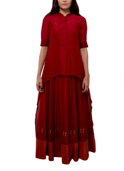 Indian Fashion Designers - Myoho - Contemporary Indian Designer - Asymetric Top with Stand Collar with Panalled Long Dress - MYO-SS16-MYO-203