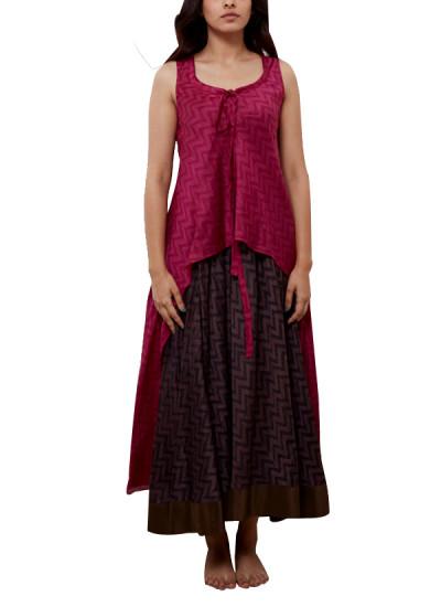 Indian Fashion Designers - Myoho - Contemporary Indian Designer - Zig Zag Print Double Layer Kurta with Neck tie ups - MYO-SS16-MYO-206