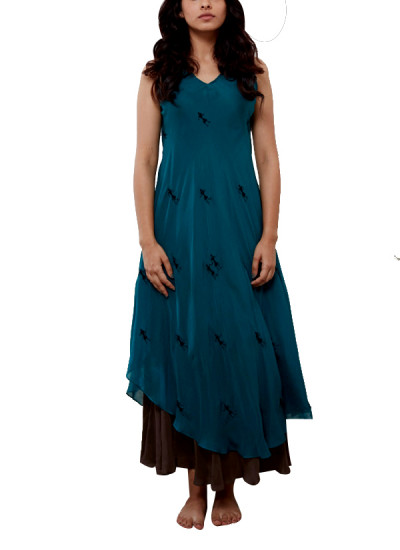 Indian Fashion Designers - Myoho - Contemporary Indian Designer - Double Layer Embroidered Dress with Inner Twill - MYO-SS16-MYO-217A