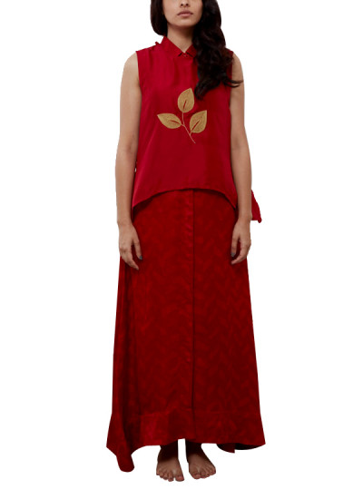 Indian Fashion Designers - Myoho - Contemporary Indian Designer - Center Butta Top with Back Overlap with Shirt Collar Side Hanging Kurta - MYO-SS16-MYO-221