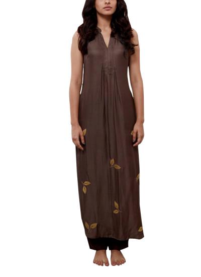 Indian Fashion Designers - Myoho - Contemporary Indian Designer - Twill Kurta with Fllral Embroidery - MYO-SS16-MYO-222