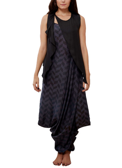 Indian Fashion Designers - Myoho - Contemporary Indian Designer - Spaghetti Dhoti Dress  with Front Wrap and Back Embroidered Top - MYO-SS16-MYO-225A