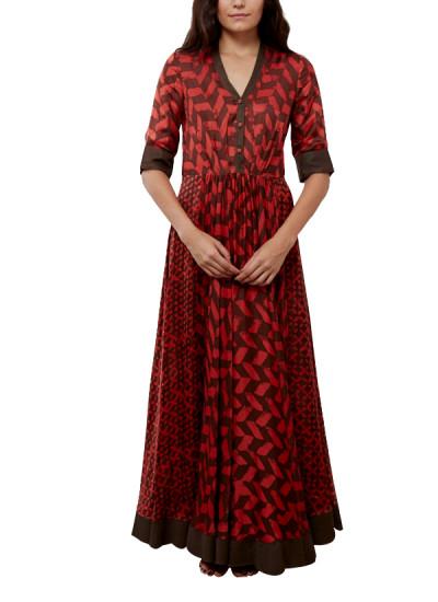 Indian Fashion Designers - Myoho - Contemporary Indian Designer - Full Length Circular and Pleated Dress - MYO-SS16-MYO-227