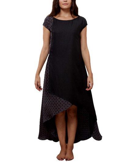 Indian Fashion Designers - Myoho - Contemporary Indian Designer - Asymetric Wrap Dress  - MYO-SS16-MYO-236A