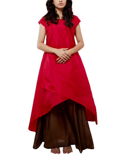 Indian Fashion Designers - Myoho - Contemporary Indian Designer - Asymetric Wrap Dress with Under Layer - MYO-SS16-MYO-237A