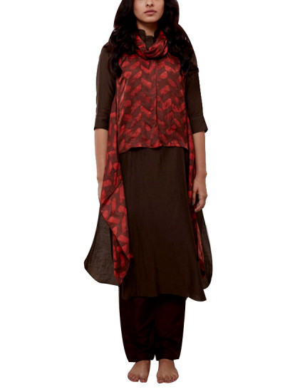 Indian Fashion Designers - Myoho - Contemporary Indian Designer - Printed Cowl Top with Side Flaps - MYO-SS16-MYO-241