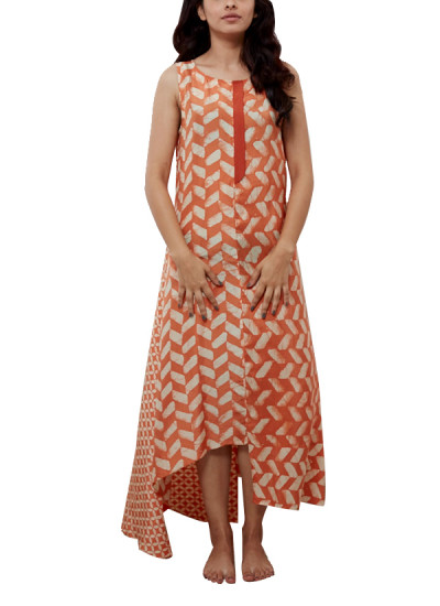 Indian Fashion Designers - Myoho - Contemporary Indian Designer - Asymetric Printed Dress with Placket - MYO-SS16-MYO-242
