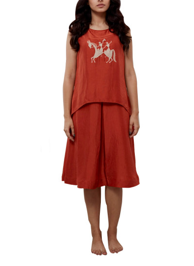 Indian Fashion Designers - Myoho - Contemporary Indian Designer - Double Layer Shift Dress with Embroidery - MYO-SS16-MYO-248