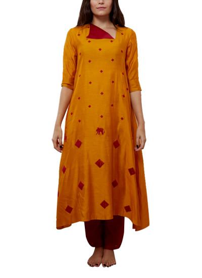 Indian Fashion Designers - Myoho - Contemporary Indian Designer - Diamond Embroidered Square Neck Kurta  - MYO-SS16-MYO-255