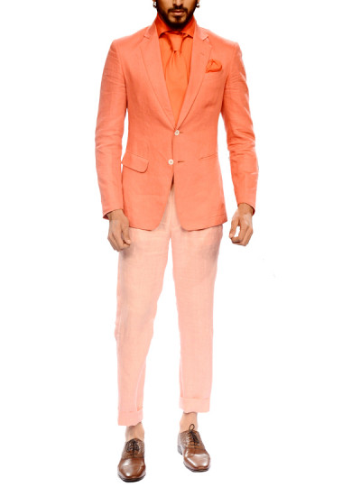 Indian Fashion Designers - Narendra Kumar - Contemporary Indian Designer - Coral Two Buttoned Jacket Set - NK-AW15-PDF-M2-2