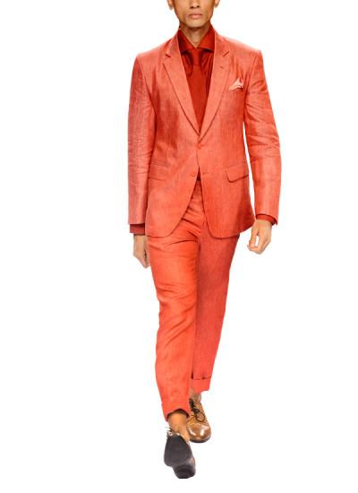 Indian Fashion Designers - Narendra Kumar - Contemporary Indian Designer - Coral Linen Jacket Set - NK-AW15-PDF-M3-2