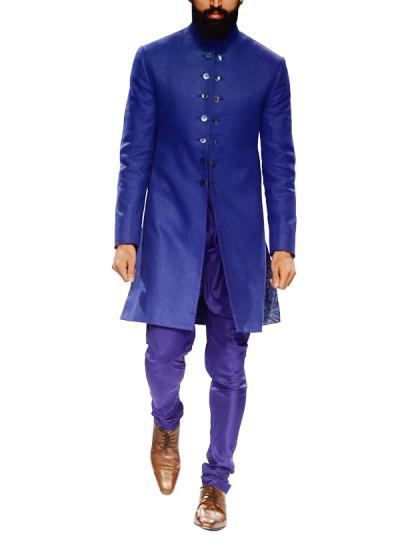 Indian Fashion Designers - Narendra Kumar - Contemporary Indian Designer - Electric Blue Jute Sherwani - NK-AW15-PDF-M7-1