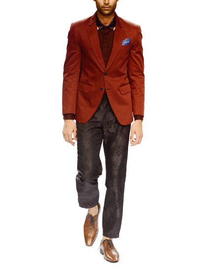 Indian Fashion Designers - Narendra Kumar - Contemporary Indian Designer - Smart Two Buttoned Jacket Set - NK-AW15-PDF-M8-2